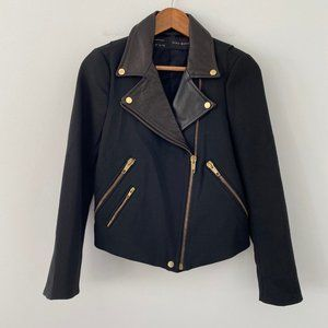Zara Wool/Cow Leather Moto Biker Jacket